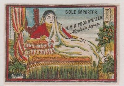 Old Glazed Matchbox Label Japan For India, Woman, N.m.a.poonawalla