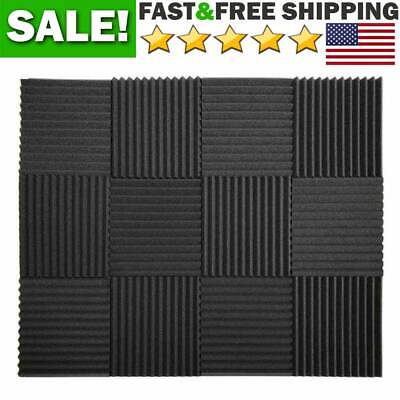 12 Pack Acoustic Foam Panels Studio Wedge Soundproof Wall Insulation Absorbing