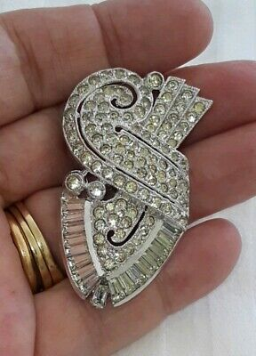 Vintage Silver Plated Art Deco Clear Rhinestone Brooch