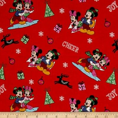 Disney Christmas Mickey and Minnie Home for Holidays Cotton Quilting Fabric 1/2Y