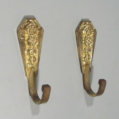Pair of Vintage French Art Deco Gilded Bronze Towel Hooks, Flowers, Numbered