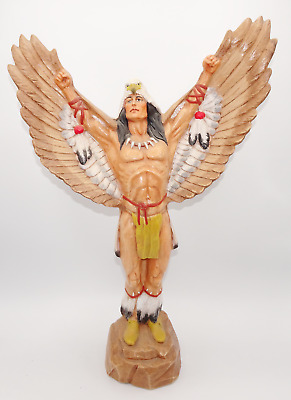 Vintage Provincial Mold Native American Indian Winged Eagle Man Statue Figurine