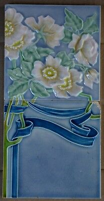 Germany - M.o & P.f. - Antique Art Nouveau Majolica 2 Tile Set C1900