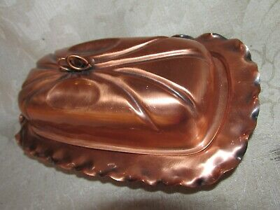Vintage GREGORIAN USA Lidded Butter Dish Copper w/ Glass Insert As New