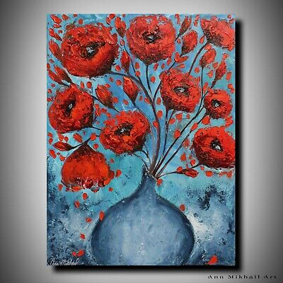 Poppies in Vase Oil Painting Original Red Poppy Art Abstract Floral Ann Mikhail