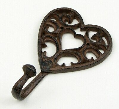 CAST IRON- Heart SINGLE  Wall  Hook French Country DECOR  RUSTIC BROWN