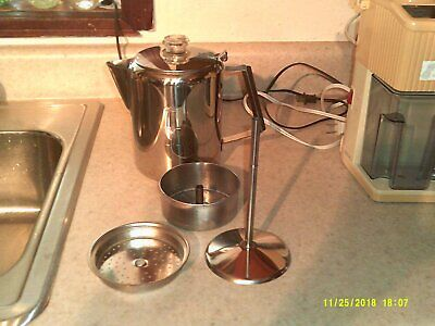 vtg stainless steel stove top coffee pot 9 cup camping RV hunting fishing