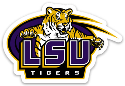 LSU Tigers Logo with tiger Purple & Gold Type Magnet