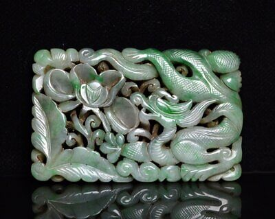 Chinese Exquisite Hand carved Dragon Carving jadeite jade statue