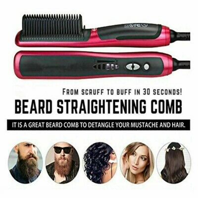 Men Beard Curling Straightener Brush Hair Comb Straightening Show Cap Quick HOT