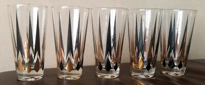 "5 Mid Century MCM Black Gold Atomic Arrow Diamond 3 1/2"" Juice Cocktail Glasses"