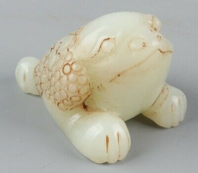 Chinese Exquisite Hand-carved toad Carving Hetian jade statue