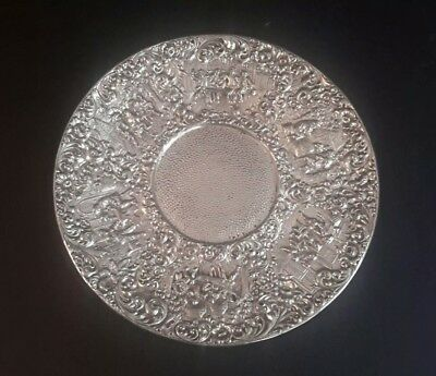 BARBOUR SILVER CO Victorian Silver Plate Embossed Dutch Figures Plate # 3687