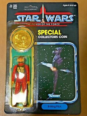 Vintage 92 Back Star Wars Power Of The Force B-Wing Pilot With Collectors Coin
