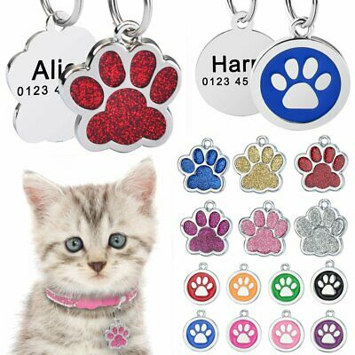 Personalized Dog Tags Glitter Paw Free Engraved Name Number Cat Dog Puppy Kitten