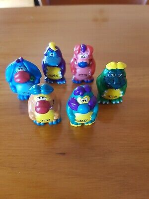 Yowies Series 1 Boof, Nap, Rumble, Ditty, Squish, Crag, also with papers,