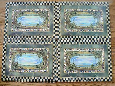 4 Mackenzie-Childs Cloud Watching Placemats Courtly Check Mint Retired