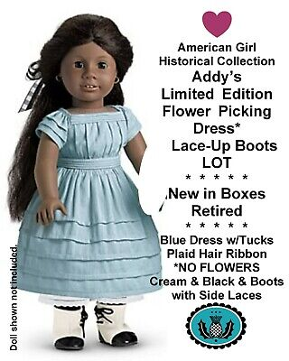 American Girl_ADDY's FLOWER PICKING OUTFIT + LACE-UP BOOTS LOT_Ltd. Edition_NEW