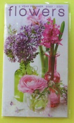2020-21 2 Year 2 Yr PLANNER FLOWERS BOUQUET Monthly Pocket Pink Small Calendar