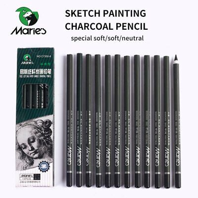 Marie's 12Pcs Charcoal Pencil For Sketch Painting Pencils Drawing Lapiz Set