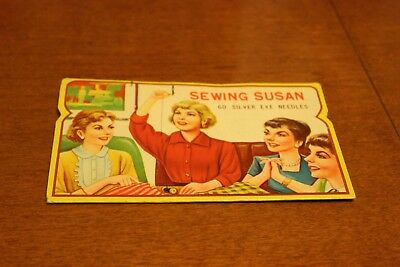 Sewing Susan Silve Eye Needles VINTAGE Advertisement With Needles