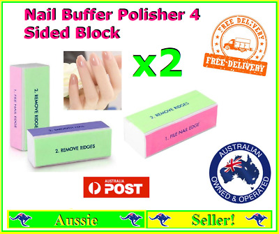 2x Nail Buffer Polisher File Block 4 Sided Files  FREE Delivery