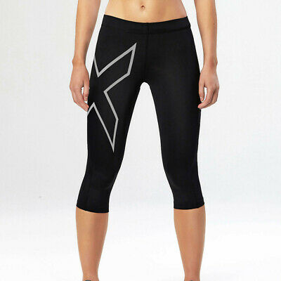 2XU TR2 Womens Black Compression Work Out Capri Tights Sports Bottoms Pants