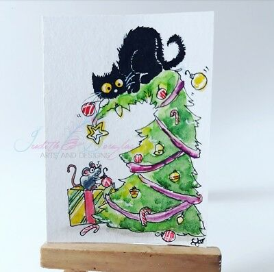 ACEO cat #276 ORIGINAL Christmas tree black cat  mouse holiday whimsical-w/SIZE