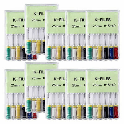 10x Dental Endodontic Root Canal Niti K-files 25mm #15-40 Hand Use Files Reamers