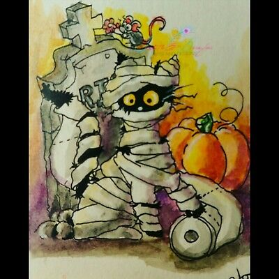 ACEO cat #265 original painting black mouse Halloween mummy pumpkin whimsical