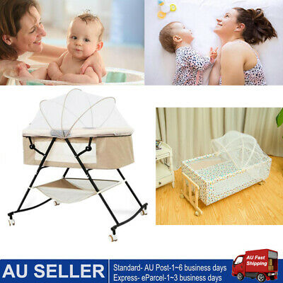 Bedside Newborn Baby Bassinet Cot Crib Rocking Swing Bed w/ Mosquito Net