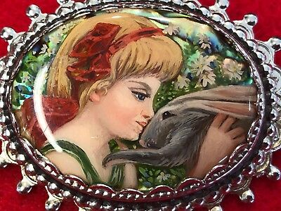 Beautiful Miniature Glazed Oil Painting of Young Girl w/Bunny ~Brooch/Pin