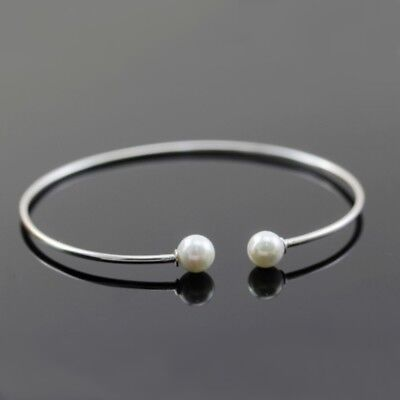 Solid 925 Sterling Silver 6mm Freshwater Pearl Torque Bangle Bracelet 50 x 55mm