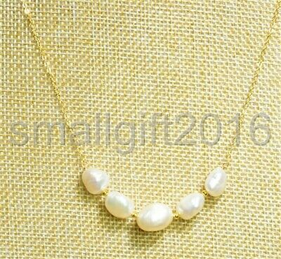 14k gold Natural Fresh Water Baroque Pearl Necklace 18""