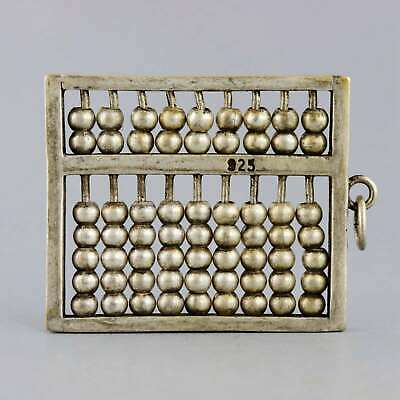 Collectable China Old Miao Silver Hand-Carved Ancient Calculator Abacus Pendant