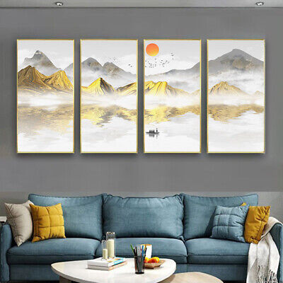 Canvas Boat Mountain Modern Art Collection Print Poster Living Room Painting 4