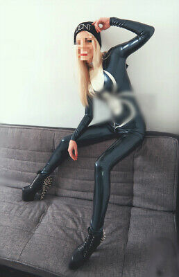 Rubber Latex Catsuit Schwarz Fanshion Tights Ganzanzug 100% Gummi Bodysuit S-XXL
