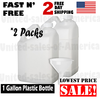 1 Gallon Plastic Bottle Empty Jug Container Airtight Lids BPA Free Home 2 Pack