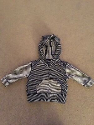 Gap Baby Boy Navy And White Hoody Top Bear Ears Striped 6-12 Months