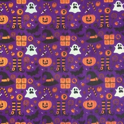 Cheap New Remnants Fabric Polycotton HALLOWEEN WITCH GHOST PURPLE Bunting