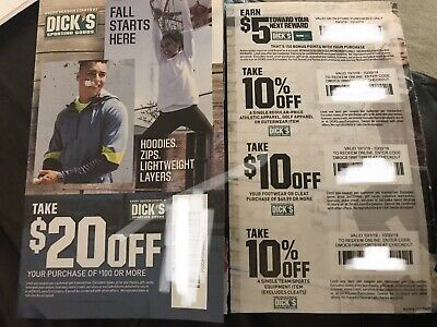 5 Dick's Sporting Goods Coupons Offers $20+$10+10% Off+Earn $5 Reward Exp 10/30