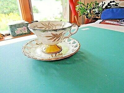 Royal Halsey Very Fine Cup + Saucer-Footed Lustre-Pierced Heart-Gold, Yellow,