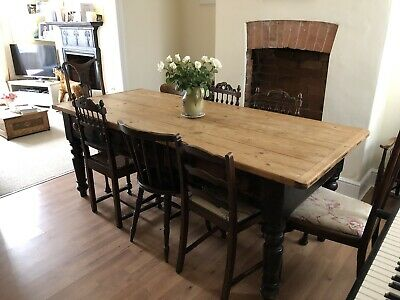 Beautiful Antique Victorian Farmhouse Table Large