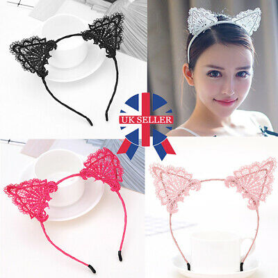 Halloween Costume Wire Lace Cat Ears Headband Festival Fancy Dress Party Kitty T