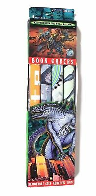 """Vintage 1998 Godzilla Peel And Stick Vinyl Book Covers 4 Pack 13"""" x 30"""" Each"""