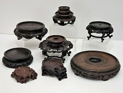 Lot of 9 Antique Chinese Carved Wood Stands for Vase / Jade ext