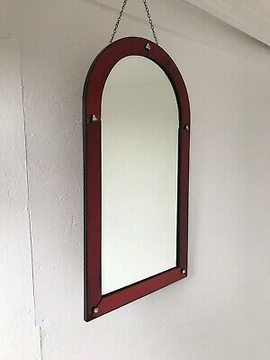 Art Deco Red Wall Mirror, Colored Panels, Red Arched Mirror