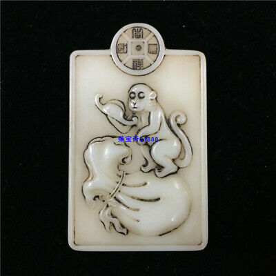 """4"""" China Natural carved old antique hetian white jade Monkey Copper coin Pendant"""