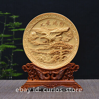 Chinese Box-wood HandCarved Pine Tree Hawk Eagle Birds Ornament Plate Statue大展宏图