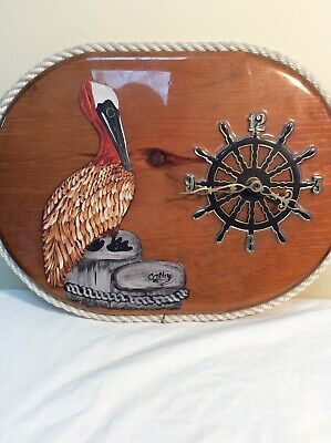 Ships Clock Quartz Decorated On Wood With Pelican On Jetty Beam Rope Framed